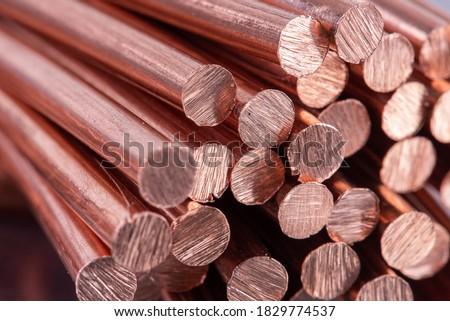 Pile of Scrap Copper Rod Foto d'archivio ©