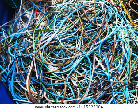 pile of scrap wire shield, pvc sheathed power cable prepare to recycle #1115323004