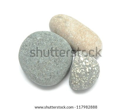 pile of sea stones isolated on white background