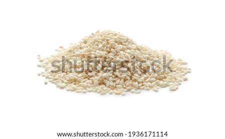 Pile of sesame seeds on white background Foto stock ©
