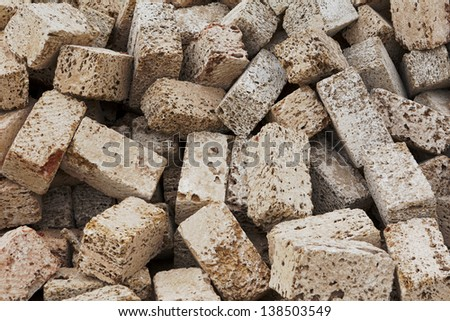 pile of shell rock concrete blocks