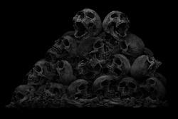 Pile of skulls and bone on dark background, Still life style