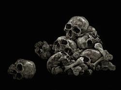 Pile of Skulls Genocide, Black background