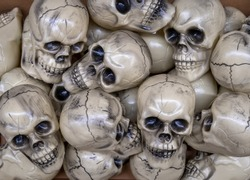 Pile of skulls in a scary Halloween display