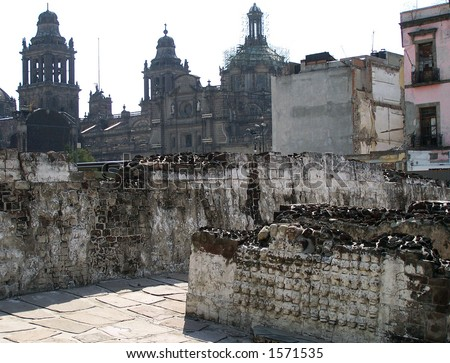 stock photo Pile of skulls in Tenochtitlan Mexicocity