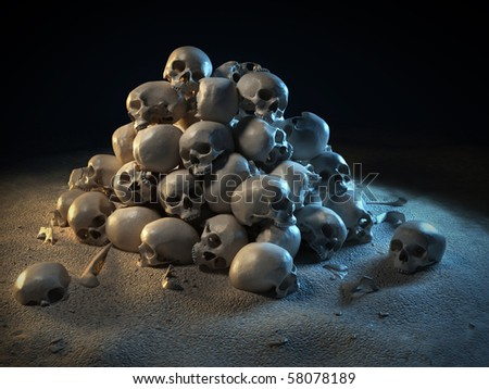stock photo pile of skulls in the dark