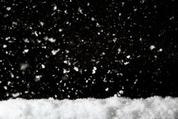 pile of snow with snowing background ,minimalistic