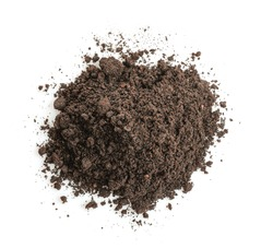 Pile of soil isolated on white background. Top view.