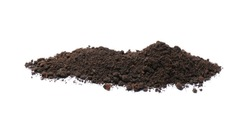 Pile of soil on white background. Fertile ground
