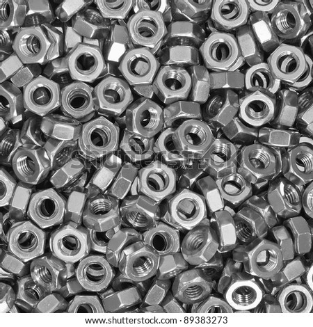 Pile of stainless steel nuts, a shop floor item