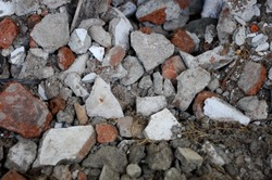 pile of stones used for building construction in the city