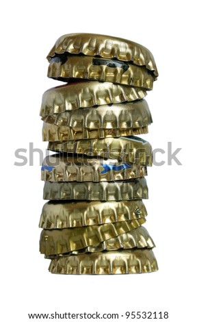 Pile of stoppers from beer on a white background.
