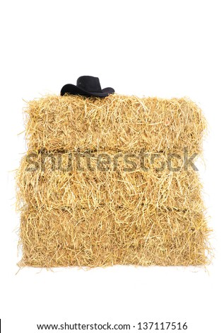 Pile of straw hay by product from rice field with black cowboy hat on top