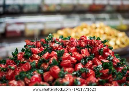 Pile of strawberry  bon bon candy