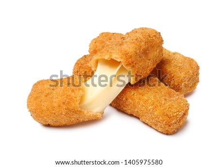 Pile of tasty cheese sticks isolated on white #1405975580