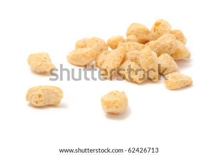 Pile of Textured Soy Protein (Soy Meat) Isolated on White Background