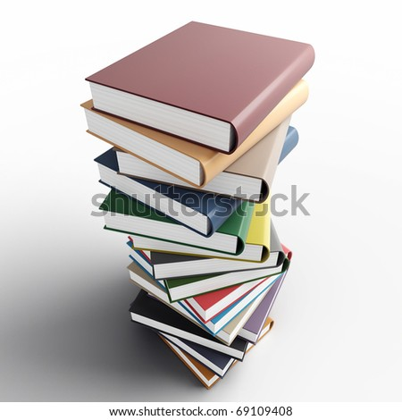 Pile of the coloured books on a white background
