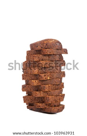 Pile of the cut bread isolated on a white background