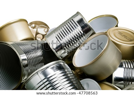 pile of tin cans waiting to be recycled - stock photo