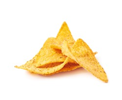 Pile of tortilla chips isolated