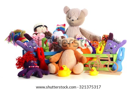 Pile of toys isolated on white #321375317