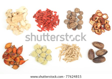 Pile of Traditional Chinese Medicine isolated on white background. - stock photo