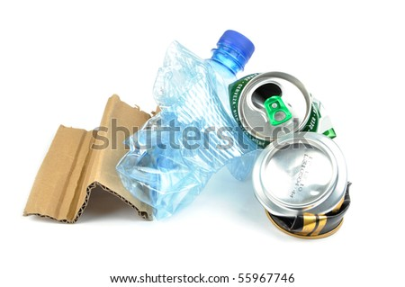 Pile of trash. Paper, plastic bottle and aluminum pop cans isolated.