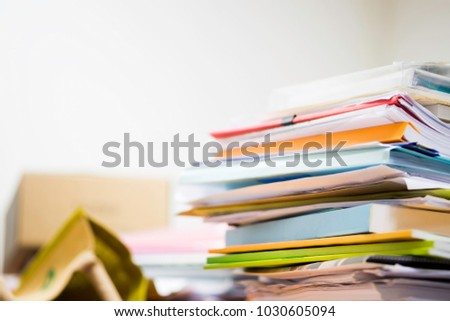 Pile of unfinished documents on office desk, Stack of business paper #1030605094