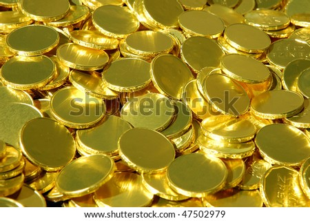 Pile of unidentifiable blank gold coins