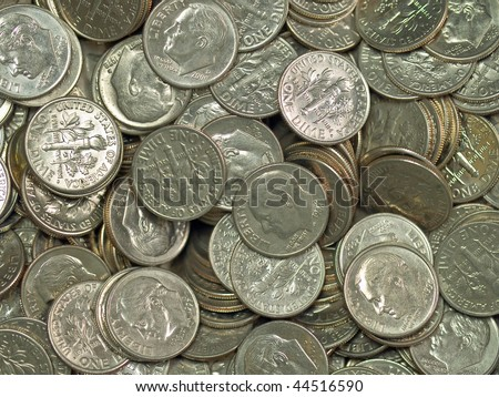 Pile of United States Coins Silver Dimes - stock photo