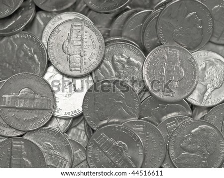 Pile of United States Coins Silver Nickles