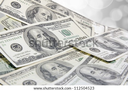 Pile of United States of America One Hundred Dollar Bills Background
