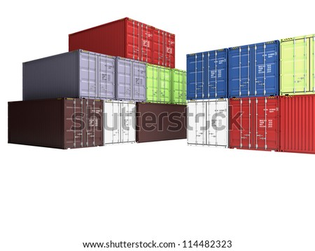Pile of varicoloured freight containers, isolated on a white background
