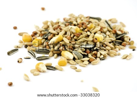 Pile of various grains, isolated on white