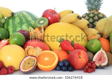 Pile of various ripe fruits. All on white background.