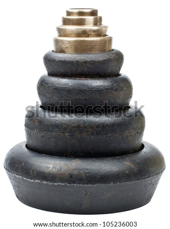 Pile of Weights isolated on a white background