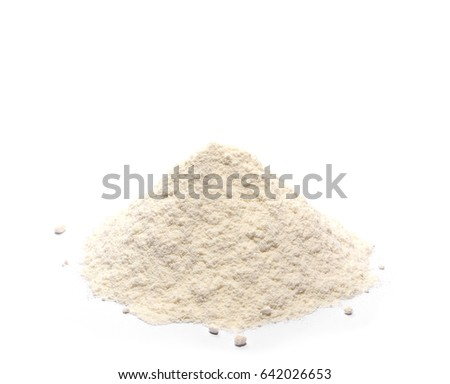 Pile of wheat flour isolated on white background #642026653