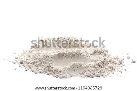 Pile of wheat flour isolated on white background, clipping path