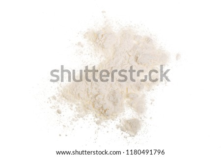 Pile of wheat flour isolated on white background. Top view. Flat lay #1180491796