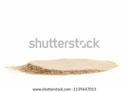 Pile of white sand isolated on white background for summer design and nature summer season background. #1139647013