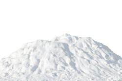 Pile of white snow on a white background. Snow hill