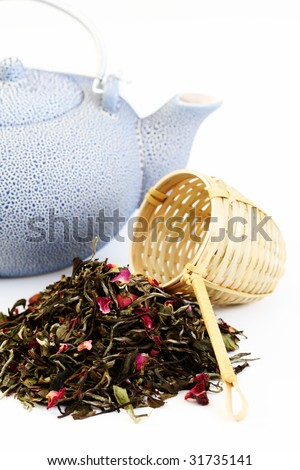 pile of white tea with rose petals on white - tea time