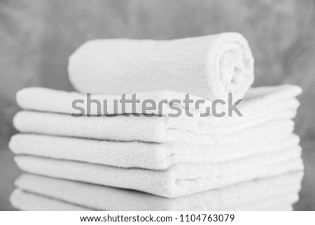 Pile of white towels #1104763079