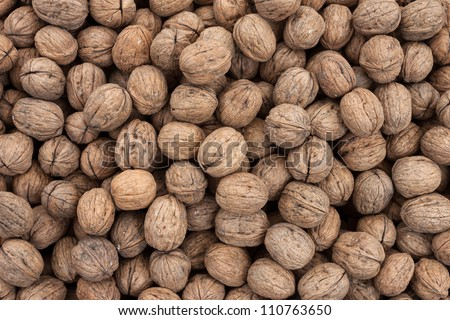 Pile of whole fresh walnuts