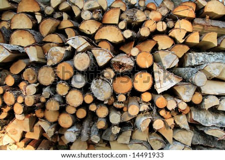 Pile of wood, cut in pieces for firewood