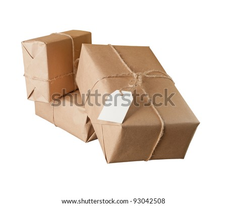 pile parcel wrapped with brown kraft paper isolated