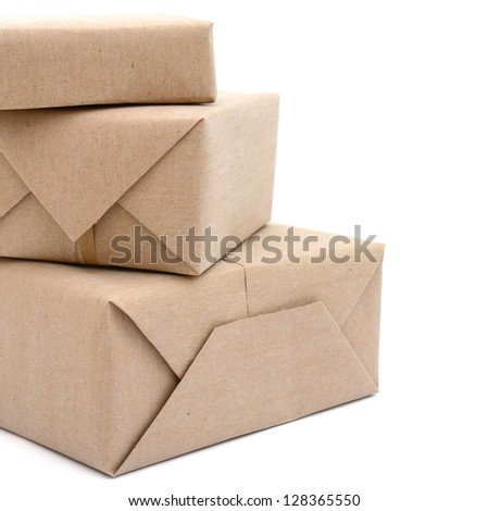 pile parcel wrapped with brown kraft paper, on stacking