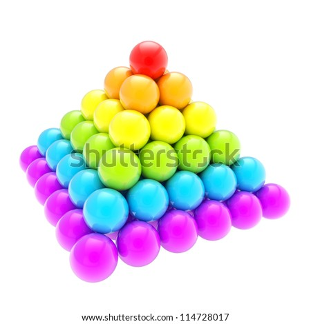 Pile pyramid of colorful rainbow colored glossy spheres isolated on white background