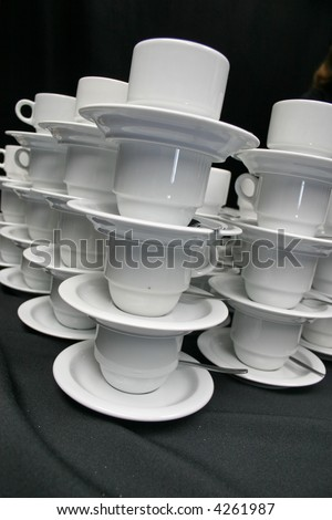 piled coffee cups