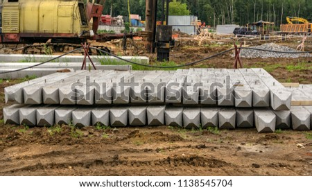 Piles for the piling machine at the construction site